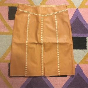Gap Leather Skirt with Embroidery Detail - Size 4